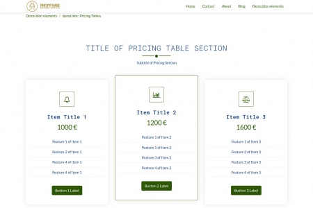 demo bloc: Pricing Tables