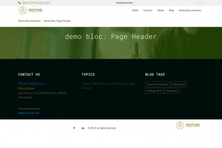 demo bloc: Page Header